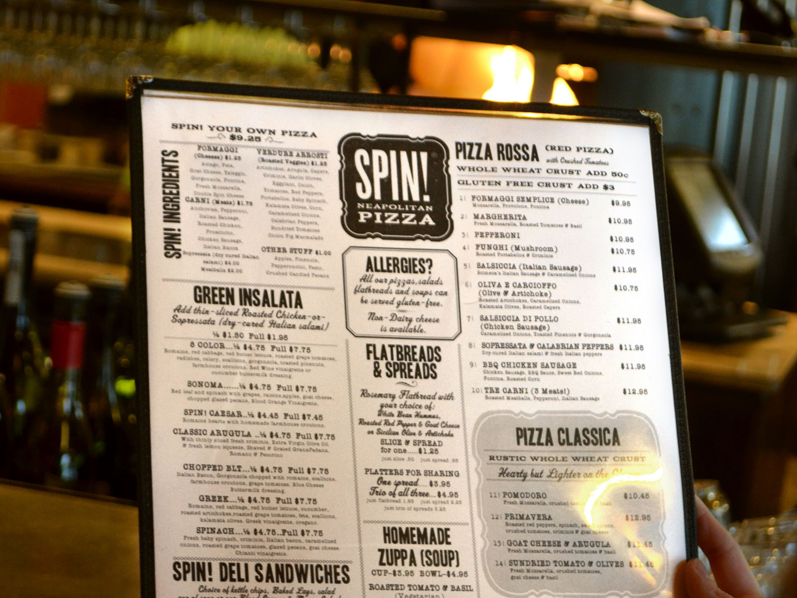 SPIN Pizza Menu