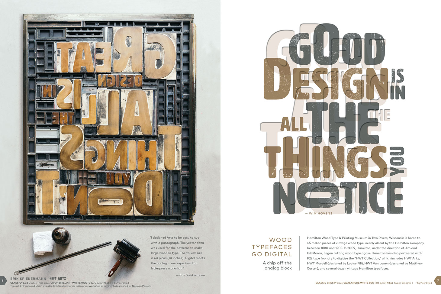 Featuring Erik Spiekermann's HWT ARTZ typeface on Neenah Classic Crest