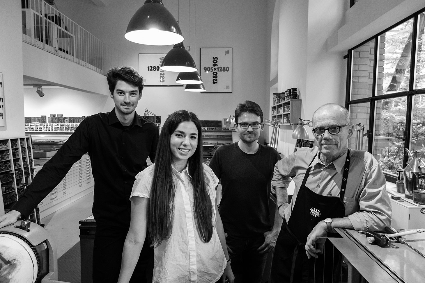 Pictured from left (Ferdinand Ulrich, Meryl Vedros, Norman Posselt, and Erik Spiekermann), photographed by Norman Posselt.