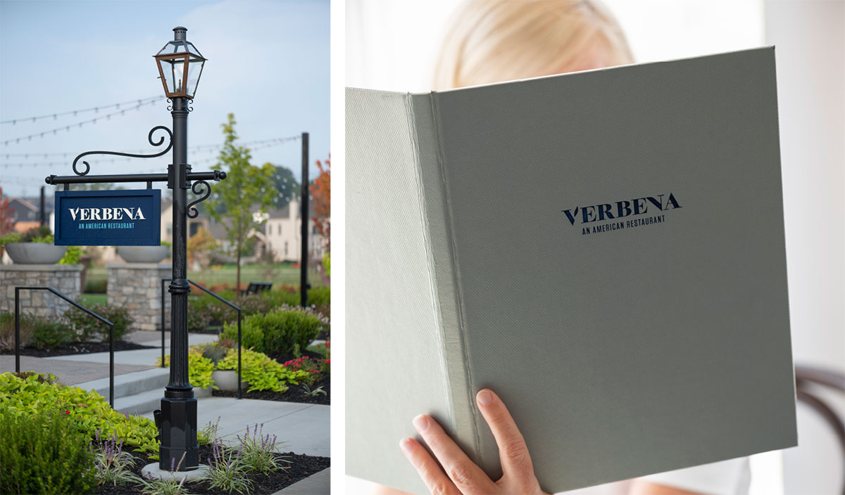 Verbena Signage & Menu - Restaurant Brand Identity
